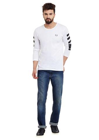 RIGO White Stripes Sleeve Round Neck Tee