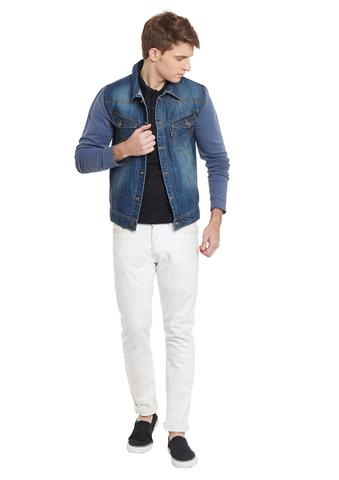 RIGO Denim Body With Terry Sleeves Winter Jacket