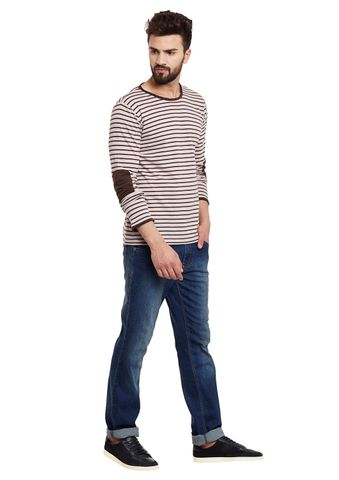 RIGO Brown Stripes Patch Sleeve Round Neck Tee