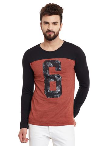 RIGO Rust  Full Black Sleeve Round Neck Tee