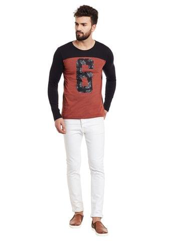 Rust Full Black Sleeve Round Neck Tee