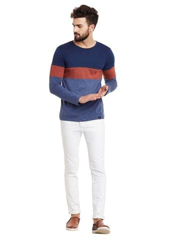 Multi Panel Full Sleeve Round Neck Tee