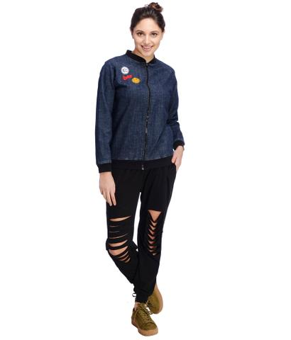 Patch Style Denim Bomber Jacket