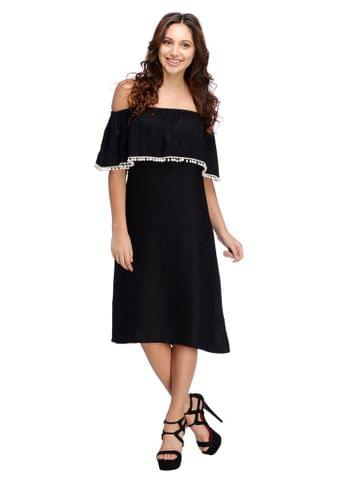 Rigo Black Ruffle Bardot Dress
