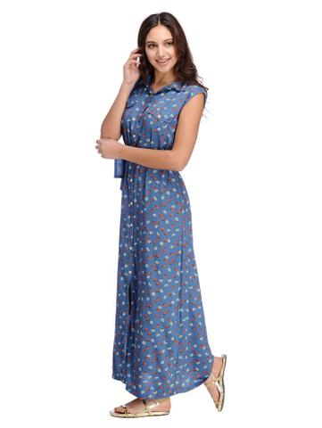 Rigo Steel Blue Abstract Print Sleeveless Shirt maxi Dress
