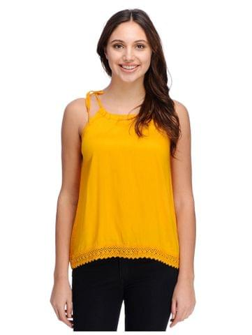 Rigo Mustard top with lace panel bottom