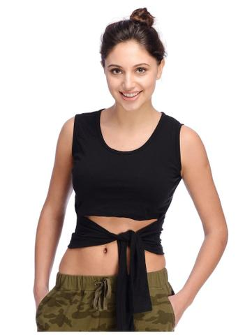 Rigo Black Front Tie Crop Top