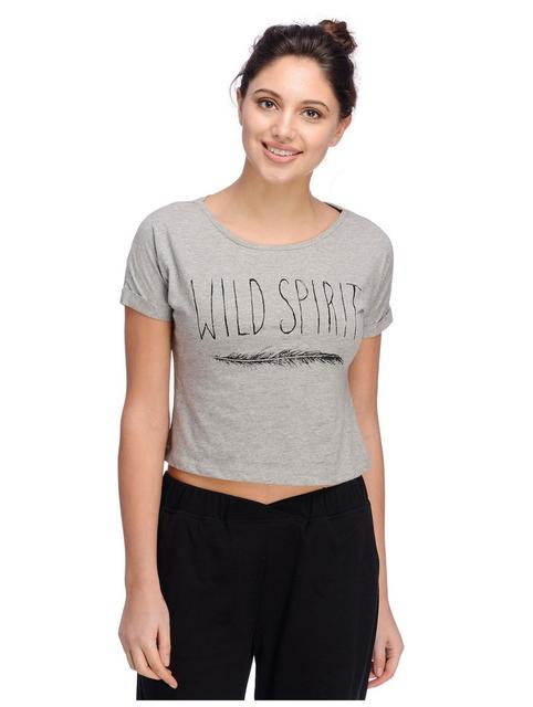 Rigo Printed Grey Crop Top