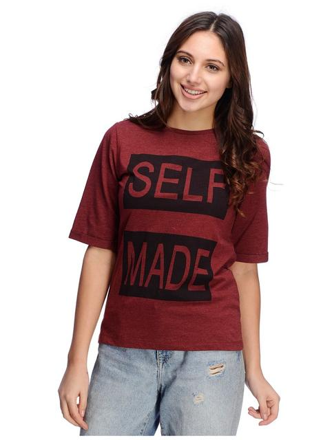 Rigo Self Made Print Maroon Tshirt