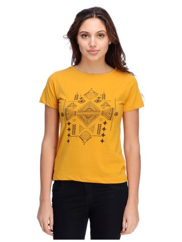 Rigo Tribal print mustard yellow tshirt