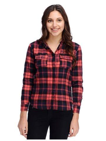 Red and Black Plaid Shirt with front pockets