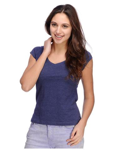 Rigo Purple Melange v neck Tshirt