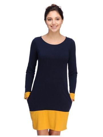 Navy Blue and Yellow Color Block Nightdress