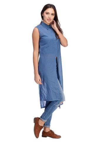 Rigo Blue Shirt Front Maxi Top
