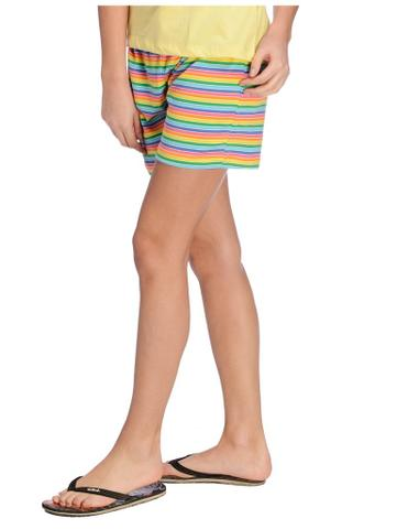 Rigo Solid Yellow and Multicolor Striped Night Wear Set