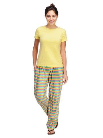 Rigo Yellow and Multicolor Striped Night Wear Set