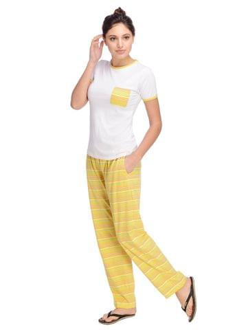 White and Multi Color Striped Night Wear Set