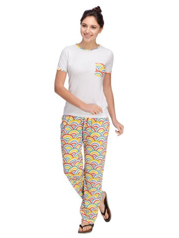 Rigo White and Multi color printed Night Wear Set