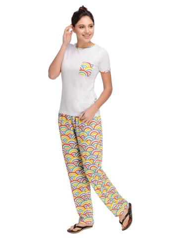 White and Multi color printed Night Wear Set