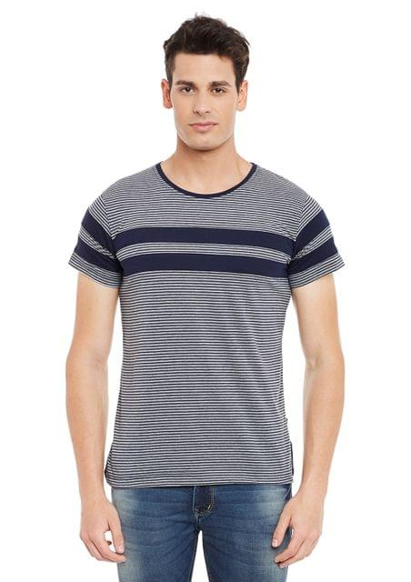 Navy Short Sleeve Striped Round Neck Tee