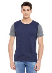 Rigo Blue Short Sleeve Striped Round Neck Tee