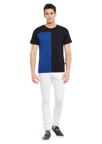 Rigo Black Short Sleeve Striped Round Neck Tee