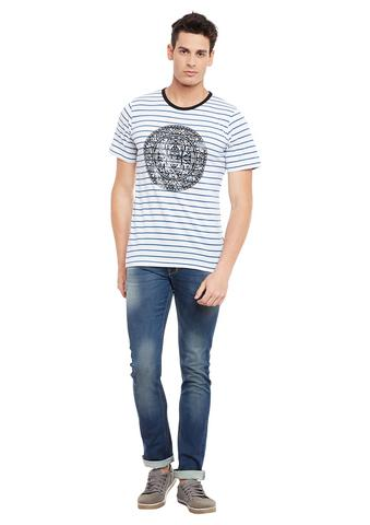 Rigo White Short Sleeve Striped Round Neck Tee