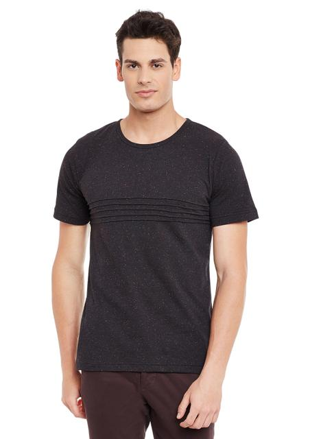 Rigo Black Nep Short Sleeve Solid Round Neck Tee