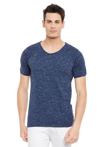 Rigo Blue Short Sleeve Solid Round Neck Tee