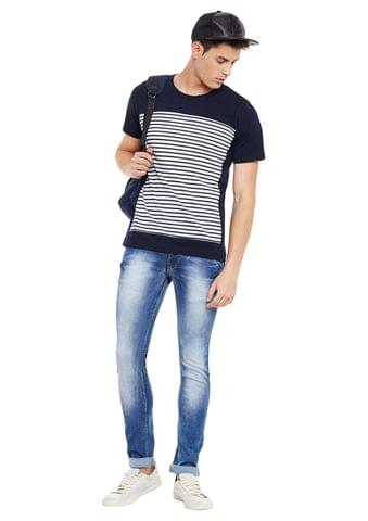 Rigo Navy Short Sleeve Striped Round Neck Tee