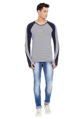 Rigo Navy Full Sleeve Striped Round Neck Tee