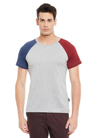 Rigo Grey Short Sleeve Solid Round Neck Tee