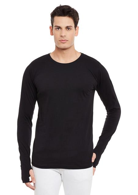 Black Full Sleeve Solid Round Neck Tee