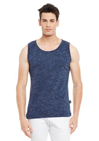 Rigo Blue Solid Cotton Sleeveless Scoop Neck Slim Fit Vest
