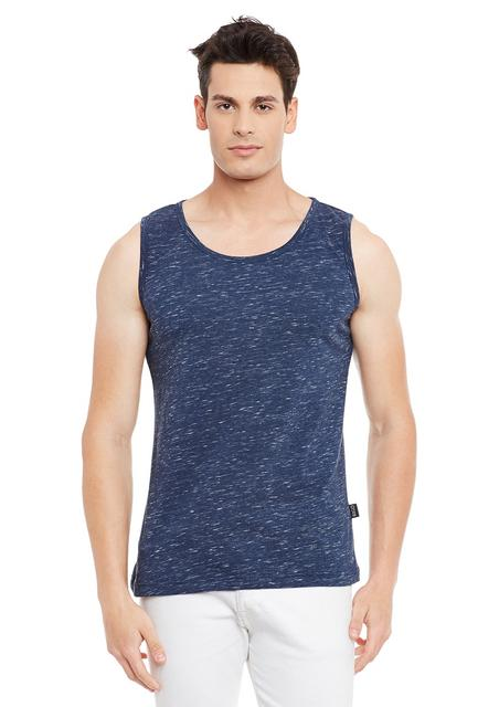 Blue Solid Cotton Sleeveless Scoop Neck Slim Fit Vest