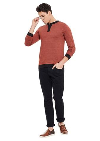 Rigo Rust Full Sleeve Solid Henley Neck Tee