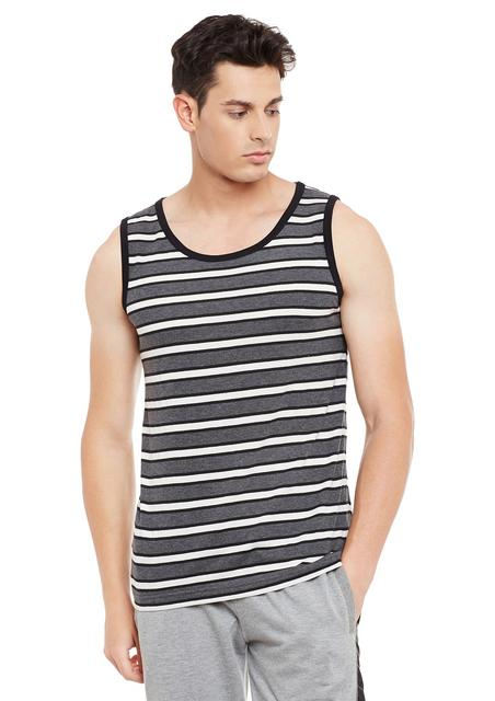 Rigo Charcoal Striped Cotton Sleeveless Scoop Neck Slim Fit Vest