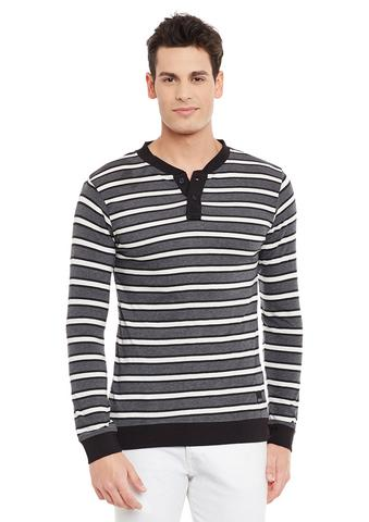 Rigo Charcoal Full Sleeve Striped Henley Neck Tee