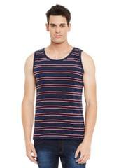 Rigo Maroon Striped Cotton Sleeveless Scoop Neck Slim Fit Vest