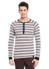Rigo Grey Full Sleeve Striped Henley Neck Tee