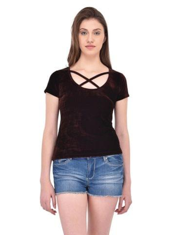 RIGO Brown Velvet Cage Neck Top for women