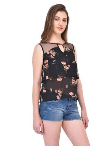 RIGO Double Layer Black Floral Print Top for women