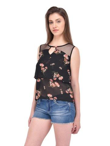 Double Layer Black Floral Print Top for women