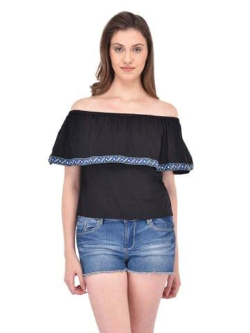 RIGO Lace edge trimmed ruffle Bardot Top for women