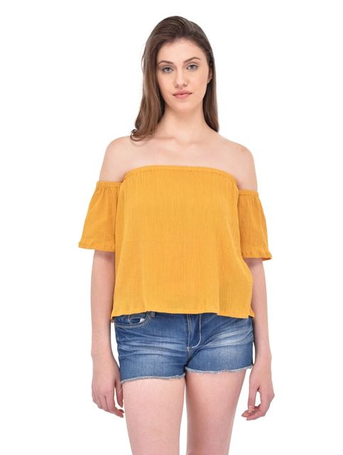 RIGO Crinkle Viscose Mustard Bardot Top for women