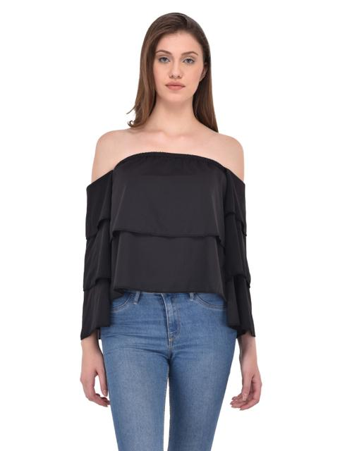Tiered Flare Panel Black Bardot Top for women