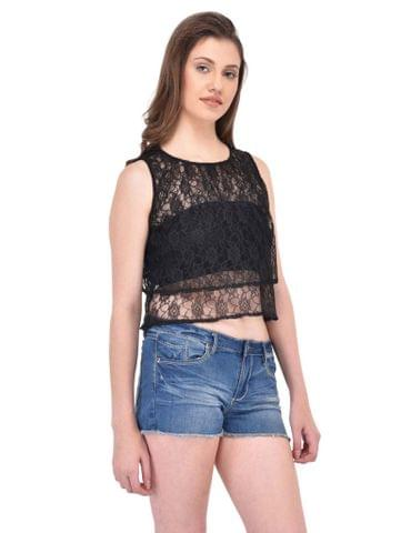 RIGO Double Layered Black Floral Lace Top for women