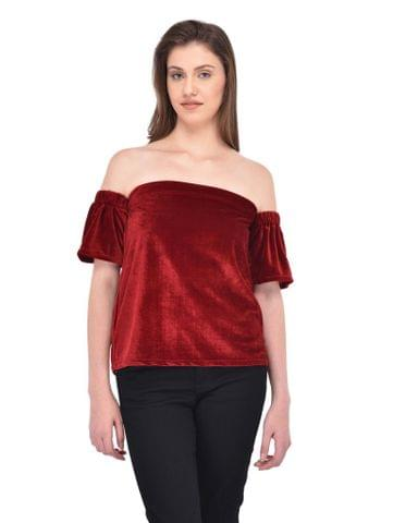 RIGO Maroon Colored Velvet Bardot Top for women