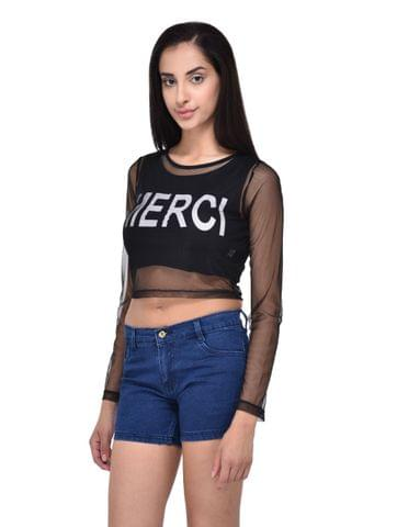 RIGO 2-in-1 Mesh and Printed Crop Top for women
