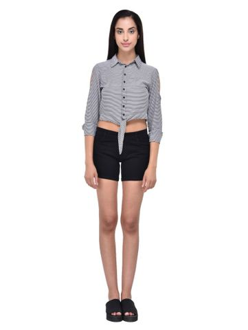 RIGO Striped Cold Shouler Crop Shirt for women